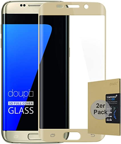 doupi 2X FullCover Protector de Pantalla Compatible con Samsung Galaxy S7 Edge, Cobertura Completa 3D 9H HD Duro Vidrio Templado, 2 Piezas, Dorado: Amazon.es: Electrónica