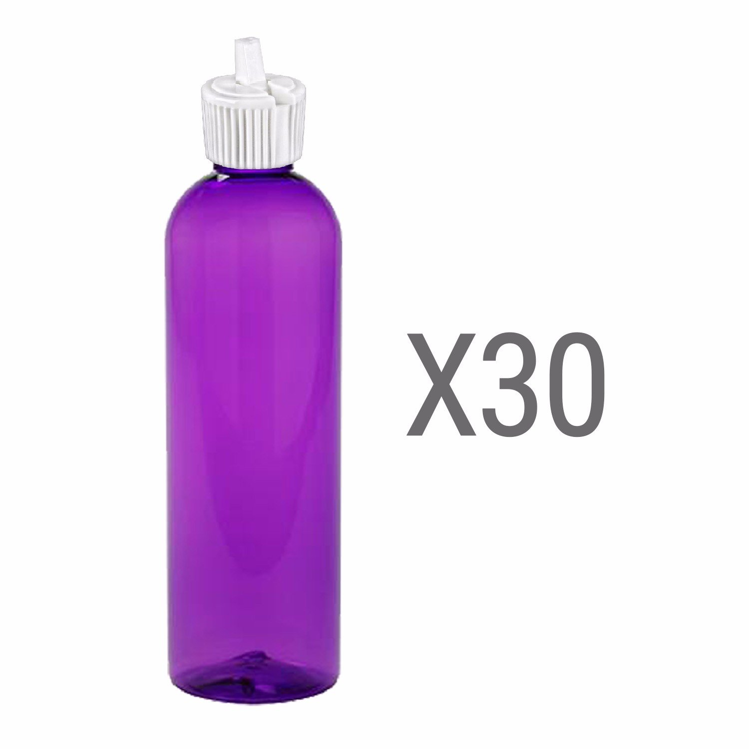 MoYo Natural Labs Turret Spout 8 oz Empty Liquid Bottle with Adjustable Dispenser Pack of 30, Purple