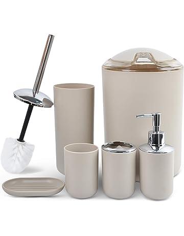 poubelle porte-brosse /à dents distributeur de savon Dibiao Ensemble de 6 accessoires de salle de bain
