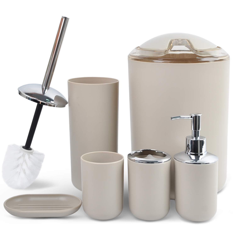 CERBIOR Bathroom Accessories Set 6 Piece Bath Ensemble Includes Soap Dispenser, Toothbrush Holder, Tumbler, Soap Dish for Decorative Countertop and Housewarming Gift,Beige