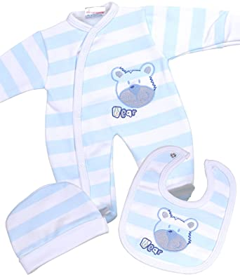 1ced99e46 BabyPrem Premature Baby Set Sleepsuit Bib Hat Clothes Boy Teddy BLUE ...