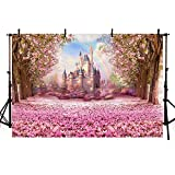 COMOPHOTO Castle Fairy Tale Backdrops for Photography Baby Birthday Party Photo Backdrops Kid Pink Flower Background Pictures Seamless Vinyl Cloth 7x5ft