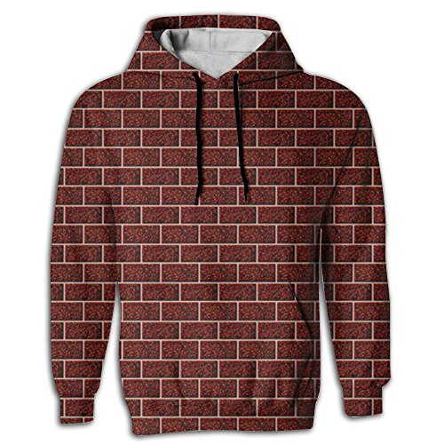Men's Hoodie Graphic Tunic Digital Print Brick Wall Stone - Stonewalls Block