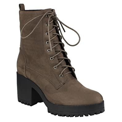 EJ04 Women's Fashion Ankle High Chunky Block Heel Combat Booties