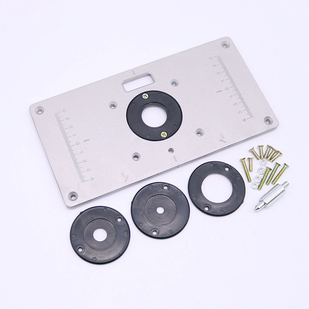 Tomeco Aluminum Alloy Router Table Insert Plate with 4pcs Insert Rings Wood Router Table for Woodworking Benches
