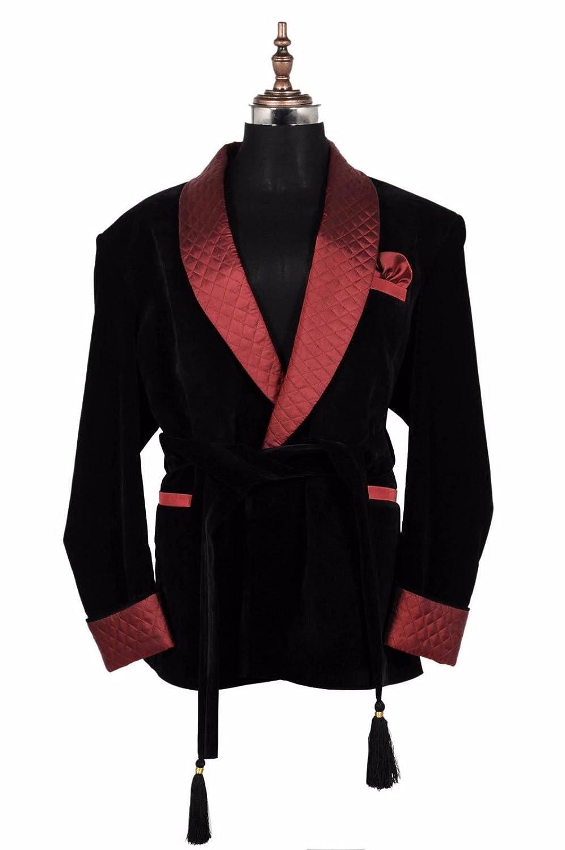 Zainabexports Mens Christmas Party Wear Black Velvet Smoking Jackets