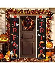 لافتة هالوين بعبارة Trick or Treat لديكورات الهالوين في الهواء الطلق للباب الأمامي أو ديكور المنزل الداخلي، سهلة الاستخدام جاهزة للتعليق من أجل البوابة، الحديقة، قرع الحفلات المنزلية
