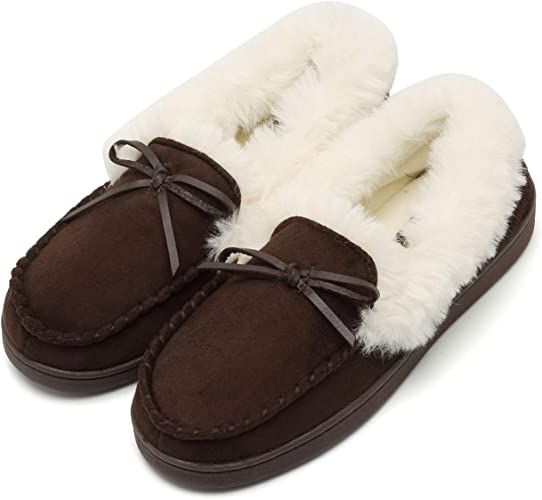 fanture Women/'s House Slippers Moccasins Slip On Micro Suede Faux Fur Lined Indoor /& Outdoor