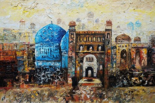 100% Genuine Real Hand Painted Islamic Art, Medina, Hajj Canvas Oil Painting for Home Wall Art Decoration, Not a Print/ Giclee/ Poster by Generic