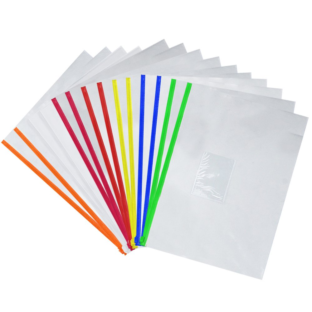 Eoout Pcs Plastic Poly Zip Envelope File Folder BagsLetter Size