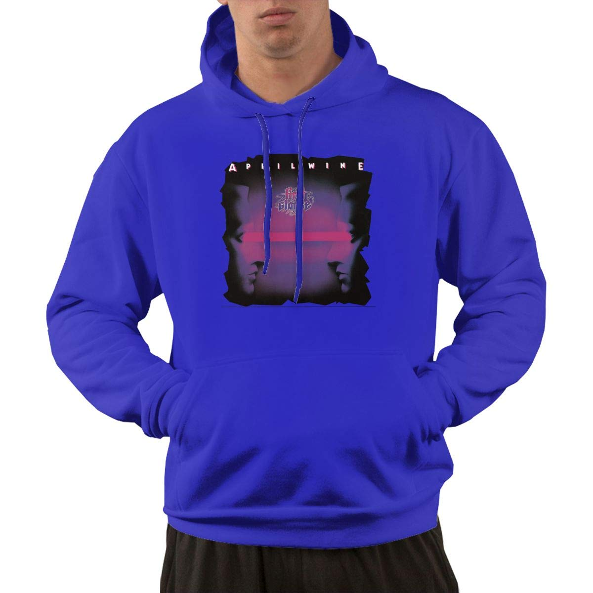 Erman S Pullover Athletic Blue Print April Wine Band Hooded Shirts With Pocket