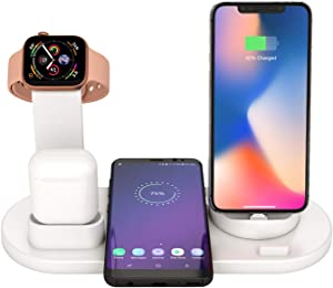 Wireless Charger Stand, 6 in 1 Multi-Function Wireless Charging Station Dock for Apple Watch Airpods, Qi Fast Wireless Charger Holder Pad for iPhone 11 Pro Max X XS XR and Smartphone (White)
