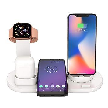 Soporte Base de Carga para iPhone AirPods Apple Watch, 3 en 1 Estación de Cargador Inalámbrico Rápido Qi para iPhone 8 X XR XS y Samsung Note8 S8 S9 ...