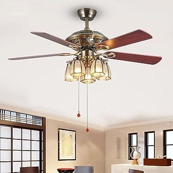 Amerikanische LED Grüne Bronze Fan Lampe Retro Einfachen Schlafzimmer  Wohnzimmer Ventilator Kronleuchter