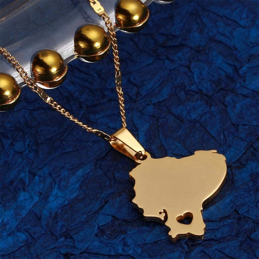 Xianglsp Co.,ltd Collar Acero Inoxidable Ecuador Mapa Collares Pendientes Mapas Ecuatorianos Charm Jewelry