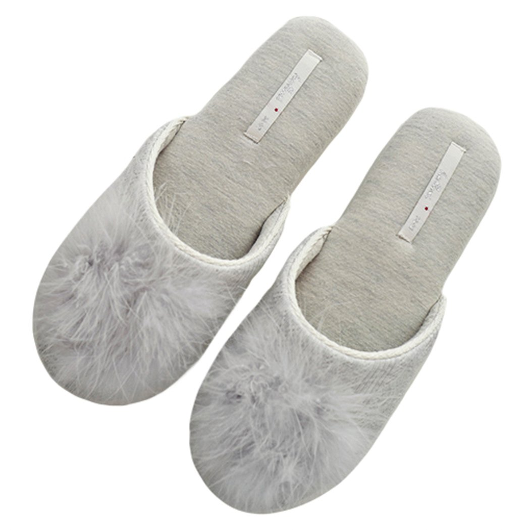 HALLUCI Women's Cozy Cotton Knitted Memory Foam House Slippers (7-8 AA(N) US, Light Grey)