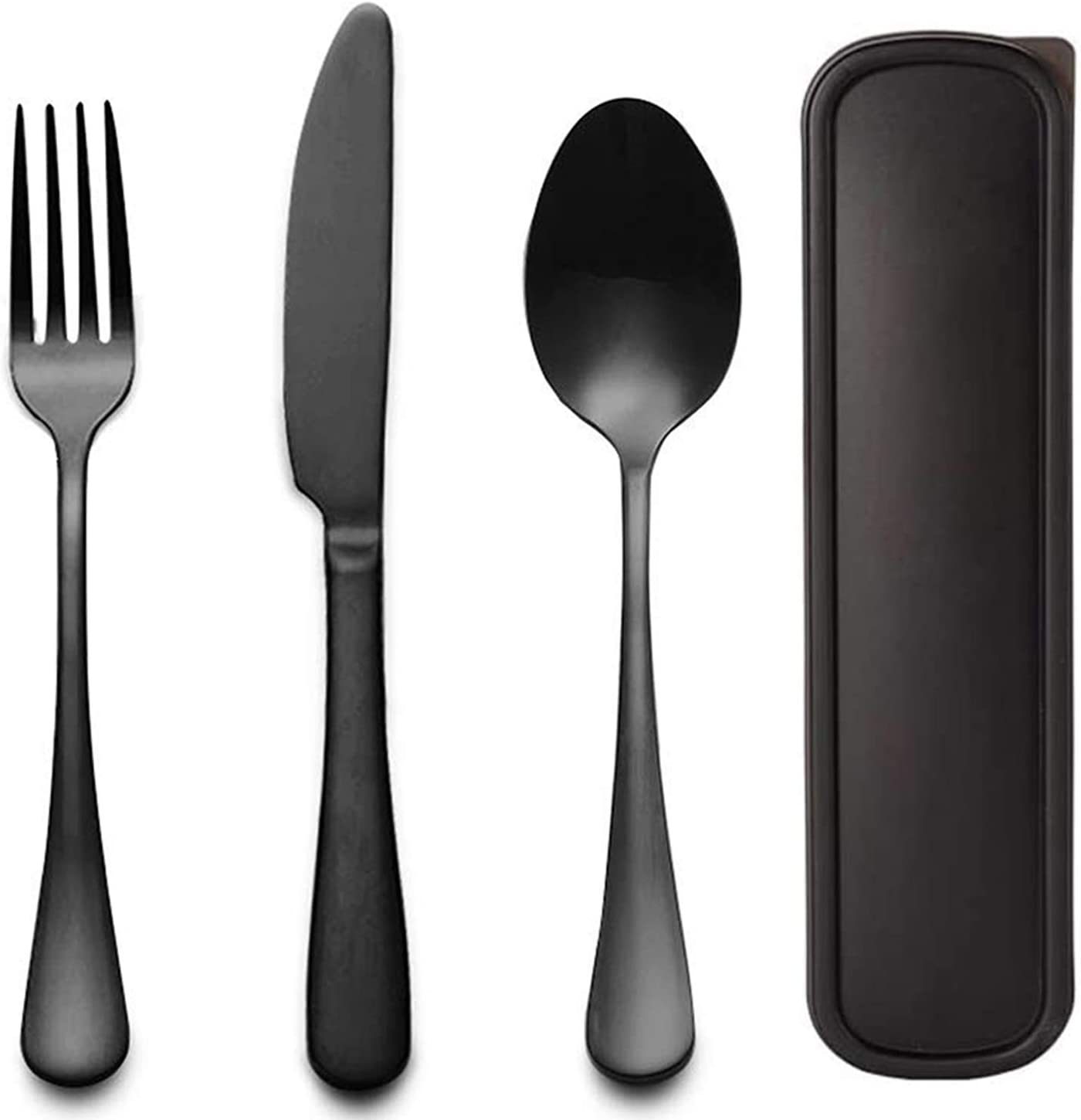 Portable Utensils Flatware Set with Case, Stainless Steel Knife Fork and Spoon Reusable Office Flatware Set Dishwasher Safe (Black)