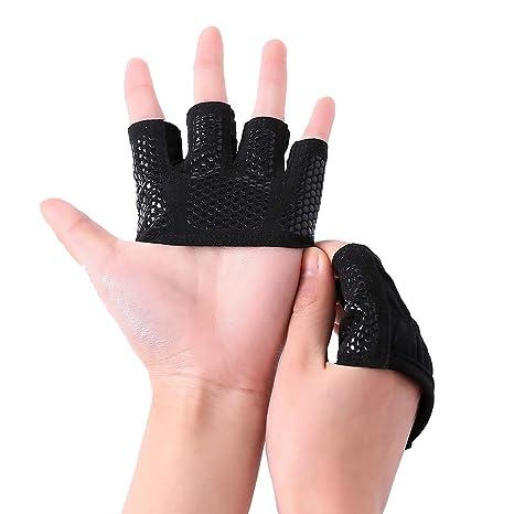 Kootk Guantes De Fitness - Hombre Mujer Deportivos Antideslizante Guantes Medio Dedo - Transpirable Absorbe Sudor
