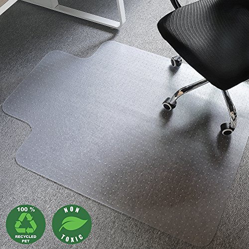 Office Chair Mat GLTECK Desk Chair Mat for Carpets Convex Shape Design Chair Mat for Low and Medium Pile Carpet Office Chair Mat 47''x35'' with Non Slip PVC Nail by GLTECK