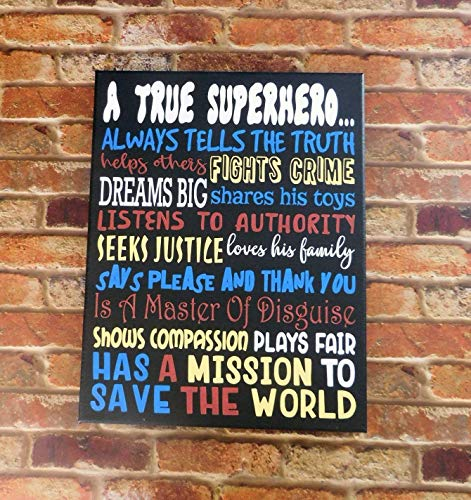 A True Superhero Kid's Room Painted Canvas Sign