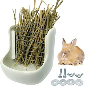 ZYYRT Ceramic Rabbit Feeder Bunny Hay Feeder Guinea Pig Food Bowl Rack for Chinchilla and Other Small Animals