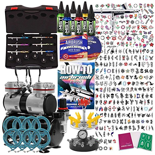 PointZero Complete Temporary Tattoo Airbrush Set – 6 Airbrushes with Compressor and 300 Stencils