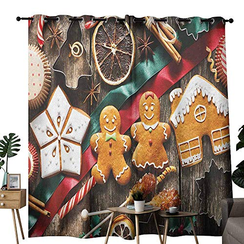duommhome Gingerbread Man Breathable Curtain Delicious Homemade Cookies Dried Fruits and Bakery Tools Festive Rustic Darkening and Thermal Insulating W84 x L96 Multicolor