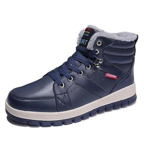 Laiwodun Hombres Zapatillas Nieve botas de piel de cuero cálido forrado no deslizamiento Casual Botas al aire libre Alto Rise Skateboarding zapatos: ...