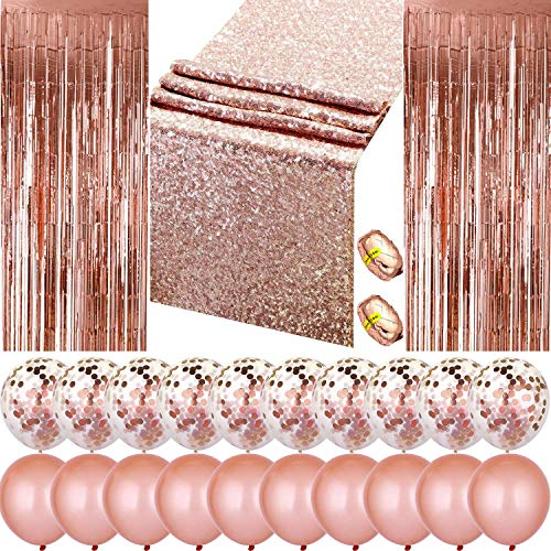 Moohome 25pc Rose Gold Party Decoration Set, Rose Gold Confetti and Latex Balloon, Rose Gold Table Runner, Rose Gold Foil Curtain, Foil Ribbon for Wedding Reception and Party -