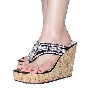 Getmorebeauty Women's Black Diamante Weave Flip Flop Summer Sandals 8 B(M) US