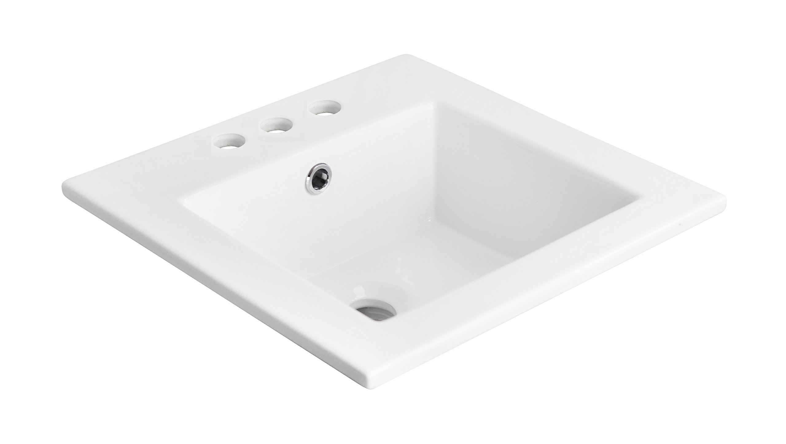 American Imaginations 662   21-Inch W X 18-Inch D White Ceramic Top with 4-Inch  Centers