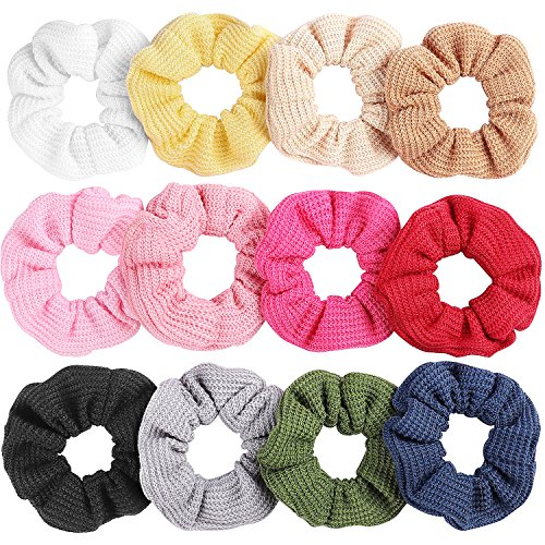 Whaline 12 Colors Hair Scrunchies Knit Elastic Hair Bobbles Hair Scrunchy Soft Ponytail Holder Hair Bands for Kids Adults (Waffle Colored Blue)