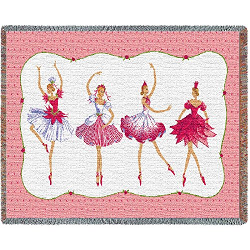 Pure Country Four Ballerinas Tapestry Mini Blanket (Dance Tapestry Throw)