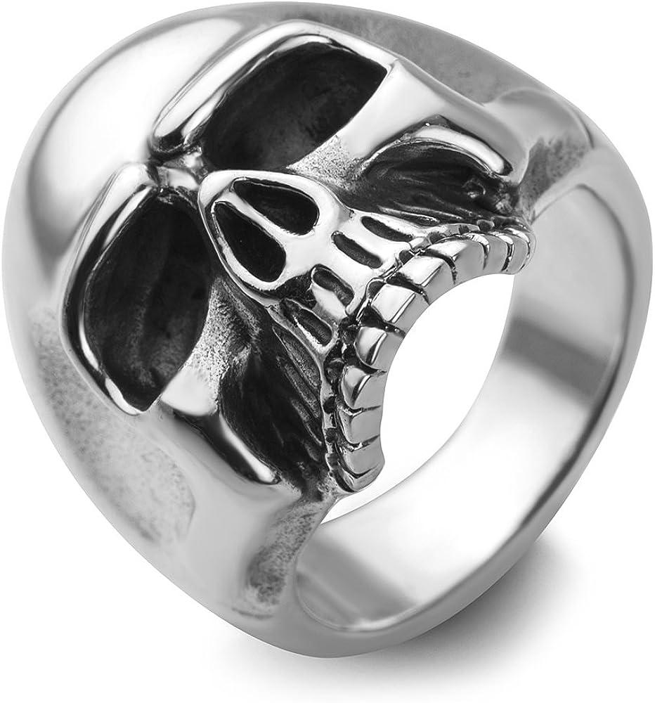 Chuvora Sterling Silver Vintage Gothic Skull Head Band Ring Men Women Unisex Size 9, 10, 11