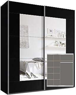 Schwebetürenschrank spiegel schwarz  Webesto Schwebetürenschrank, Kleiderschrank, ca. 200 cm, Schwarz ...