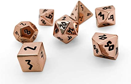 Amazon Com Set Of 7 Copper Still Mini Metal Polyhedral 10mm Pebble Dice By Norse Foundry Rpg Math Games Dnd Pathfinder Toys Games How balanced are your dice? norse foundry