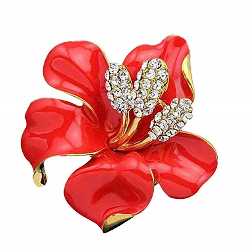 Crystal Lily Flower Brooch Pin Bridesmaid Dress Rhinestone Pin for Lady Women Qiqilei MFSUT311243
