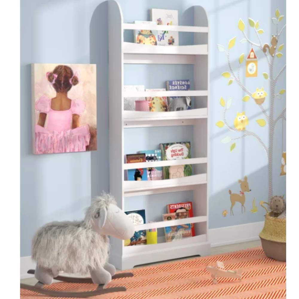 VIR Kids Bookcase, Premium Quality, White Color, 4-Tier Bookcase, Modern Design, Wall Mounting Included, Manufactured Wood, Open Shelves & E-Book Home Décor by VIR