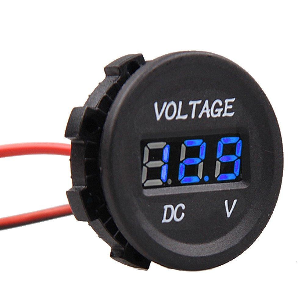 Supmico KFZ Auto 12V 24V Wasserdicht Digital Voltmeter Messbereich Blau LED Licht Spannungsanzeige Steckdose Spur