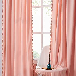 Treatmentex Pompom Pink Velvet Curtains for Living Room 84 inches Long Blush Pink Room Darkening Curtains Window Draperies for Girl's Bedroom 2pk Coral