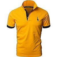 GNRSPTY Hombre Polo de Manga Corta Bordado de Ciervo Deporte Golf Camisa Poloshirt Negocios Camiseta de Tennis Verano T…