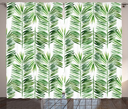 Ambesonne Palm Tree Decor Curtains, Watercolor Tropical Tree Branch Evergreen Leaf Featured Artsy Plant Lush Design, Living Room Bedroom Window Drapes 2 Panel Set, 108W X 84L inches, ()