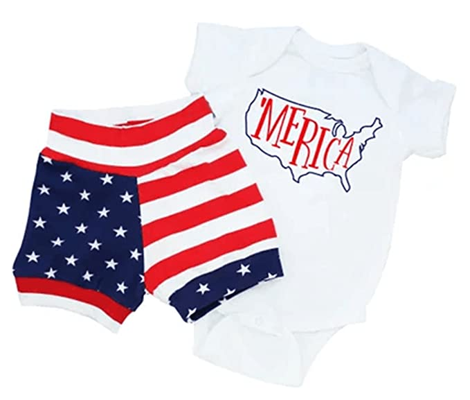 5de0d8837 Amazon.com  Fourth of July Baby Boy Girl Short Sleeve Merica ...
