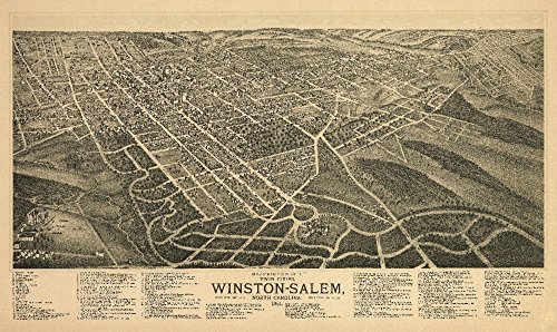 (Winston-Salem, North Carolina - (1891) - Panoramic Map (16x24 Giclee Gallery Print, Wall Decor Travel Poster))