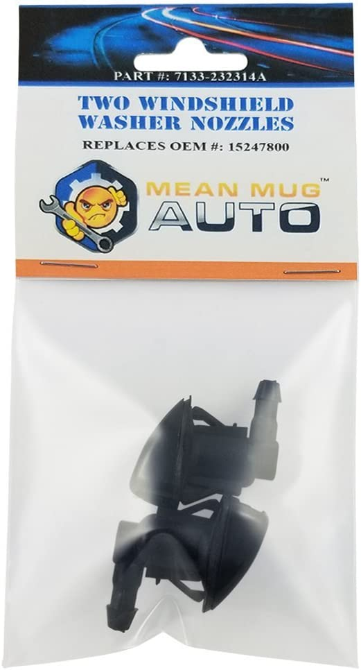 Mean Mug Auto 7133-232314A (Two) Front Windshield Washer Nozzles - Compatible with Chevrolet (Chevy), Pontiac, Saturn - Replaces OEM #: 15247800