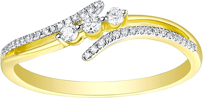 925 Sterling Silver Prism Jewel 0.50Ct Yellow Diamond With Natural Diamond Stylist Ring