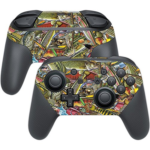 MightySkins Skin Compatible with Nintendo Switch Pro Controller - Fish Puzzle | Protective, Durable, and Unique Vinyl Decal wrap Cover | Easy to Apply, Remove, and Change Styles | Made in The USA
