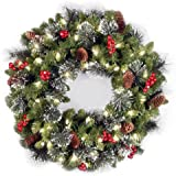 national tree 24 inch crestwood spruce wreath with silver bristles cones red berries and - Christmas Wreath Decorations Wholesale