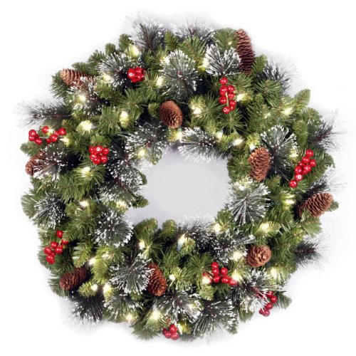 (National Tree 24 Inch Crestwood Spruce Wreath with Silver Bristles, Cones, Red Berries and 50 Battery Operated Warm White LED Lights with Timer)