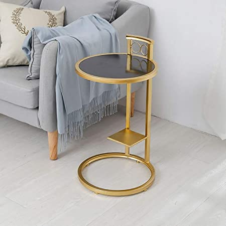 Amazon Com Small Round Coffee Table With Metal Ring Base Marble